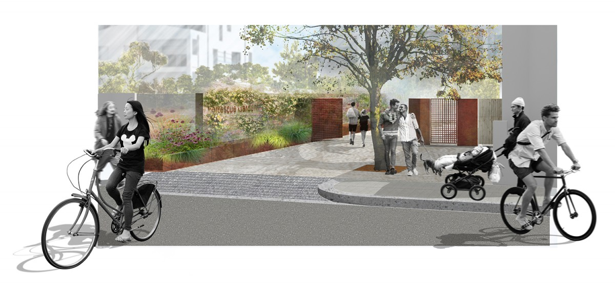 Fortescue Road site entrance rendered view