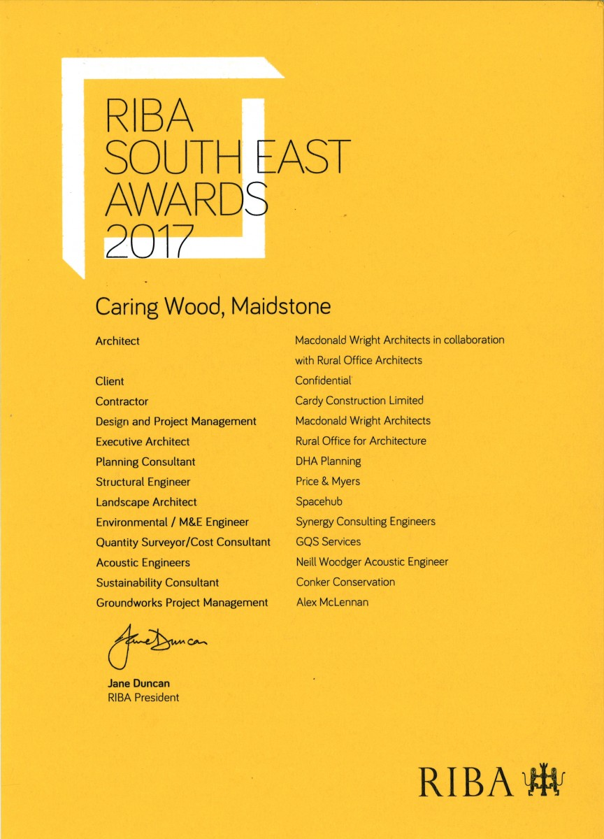 Caring Wood RIBA South East Design Award