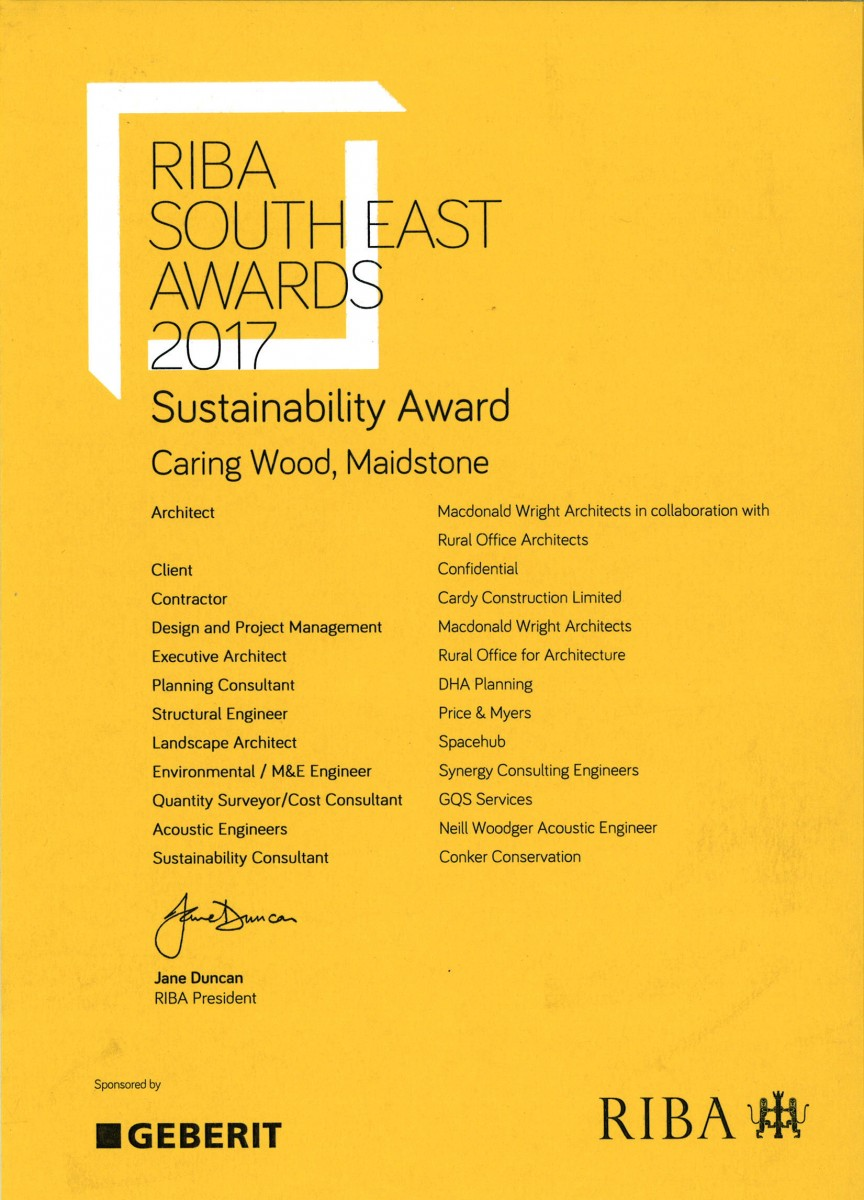 Caring Wood RIBA South East Sustainability Award